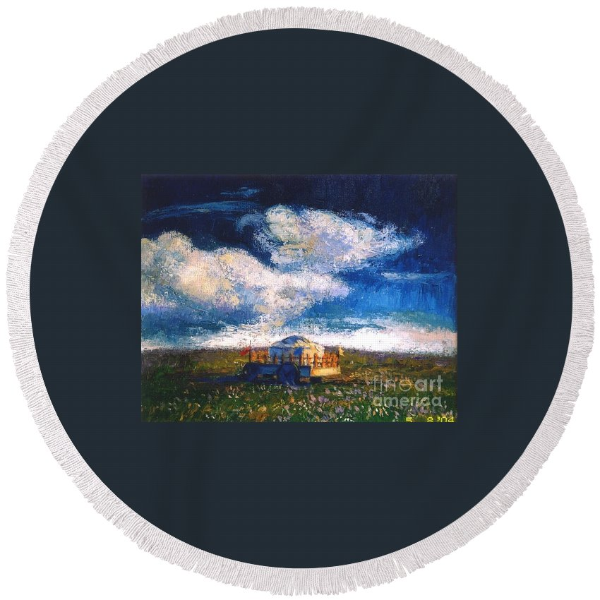 Momgolian Round Beach Towel featuring the painting Mongolian Home by Meihua Lu
