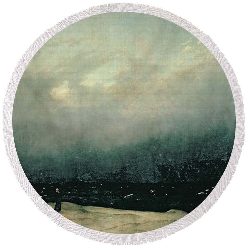 Monk Round Beach Towel featuring the painting Monk By Sea by Caspar David Friedrich