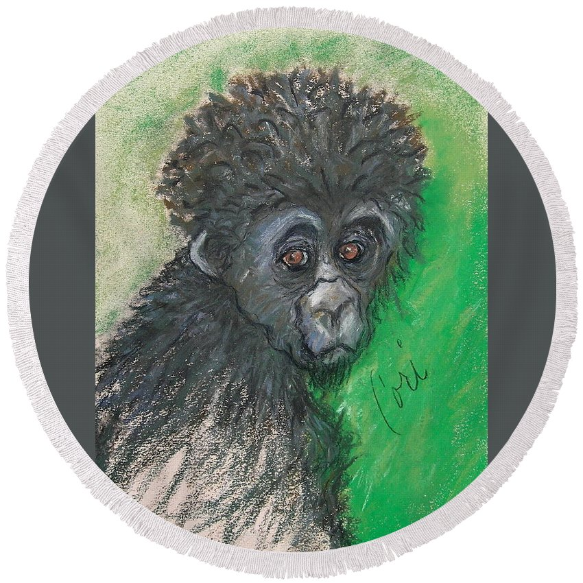 Monkey Round Beach Towel featuring the drawing Monkey Business by Cori Solomon