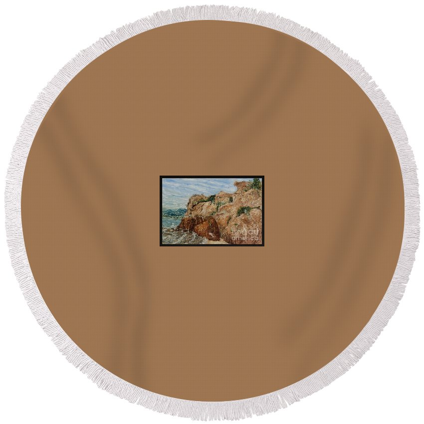 Landscape Round Beach Towel featuring the painting Monkey Stone by Pablo de Choros