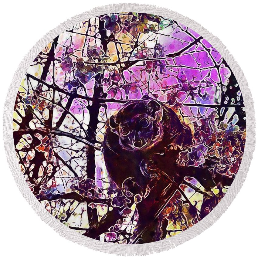 Monkey Round Beach Towel featuring the digital art Monkey Tree Zoo Animals Nature by PixBreak Art