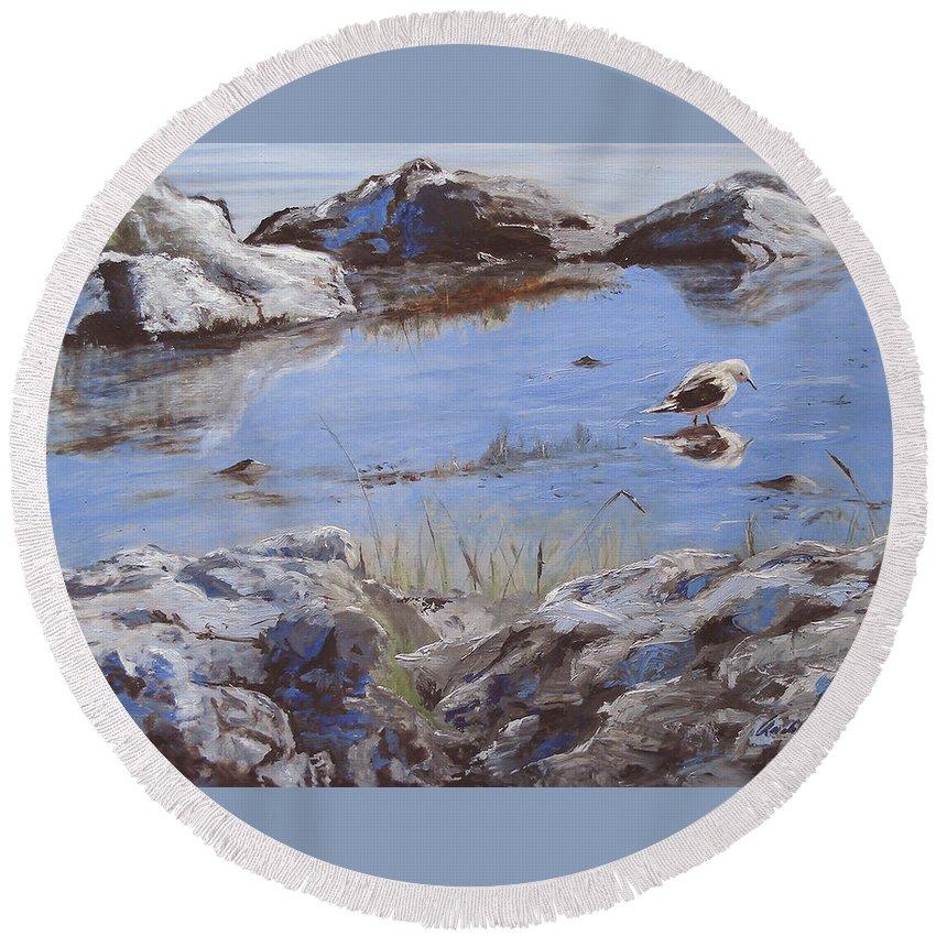 Animal Round Beach Towel featuring the painting Mono Lake by Barbara Andolsek