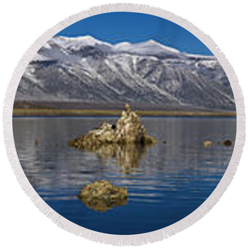 Mono Lake Pano Round Beach Towel featuring the photograph Mono Lake Pano by Wes and Dotty Weber