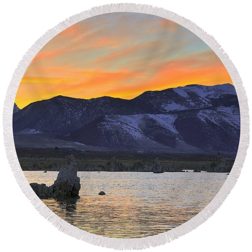 Landscape Round Beach Towel featuring the photograph Mono Sunset by Duane Middlebusher