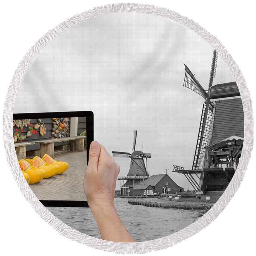 Netherlands Round Beach Towel featuring the photograph Monochromatic Concept Travel To Netherlands by Jaroslav Frank