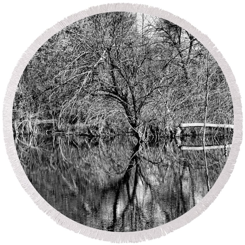 Monochrome Round Beach Towel featuring the photograph Monochrome Autumn Reflections by Robert Meyers-Lussier