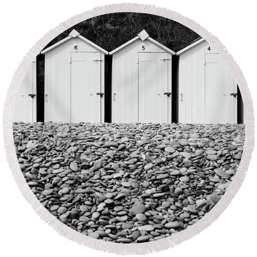 Beach Huts Round Beach Towel featuring the photograph Monochrome Beach Huts by Helen Northcott