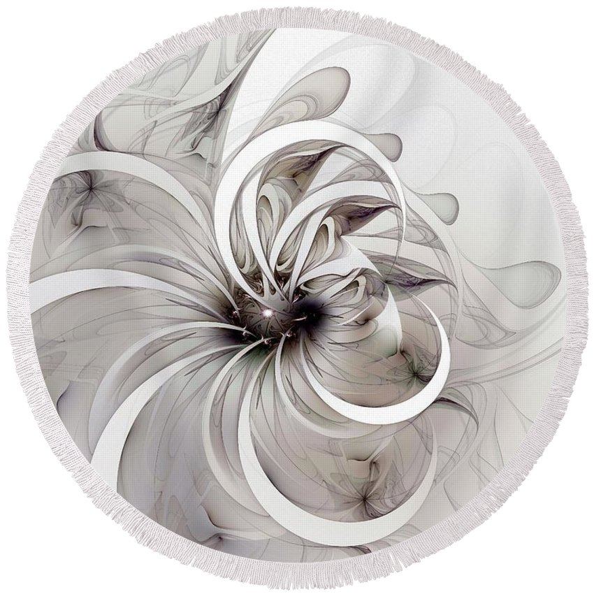 Digital Art Round Beach Towel featuring the digital art Monochrome Flower by Amanda Moore