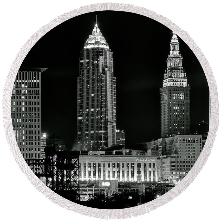 Cleveland Round Beach Towel featuring the photograph Monochrome Nightscape by Frozen in Time Fine Art Photography