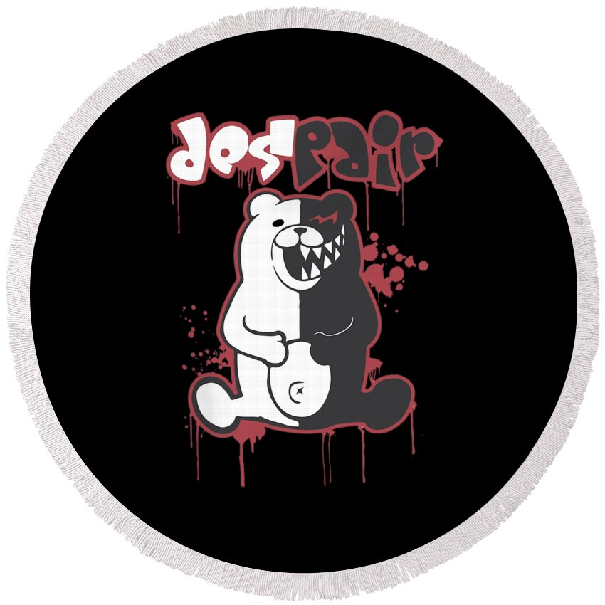 Monokuma Round Beach Towel featuring the digital art Monokuma by Debby Suhara