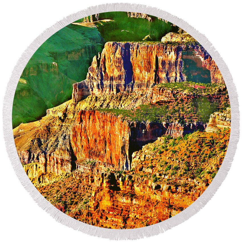 Adventure Round Beach Towel featuring the painting Monolith North Rim Grand Canyon by Bob and Nadine Johnston