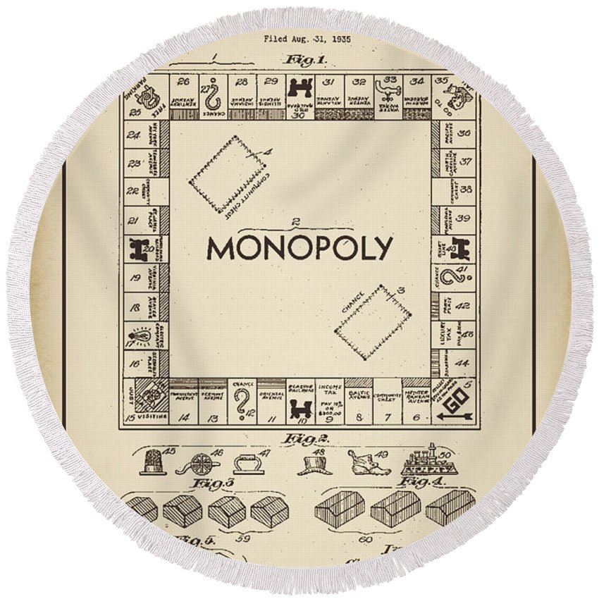 Terry Deluco Round Beach Towel featuring the digital art Monopoly Patent 1935 Vintage Border by Terry DeLuco