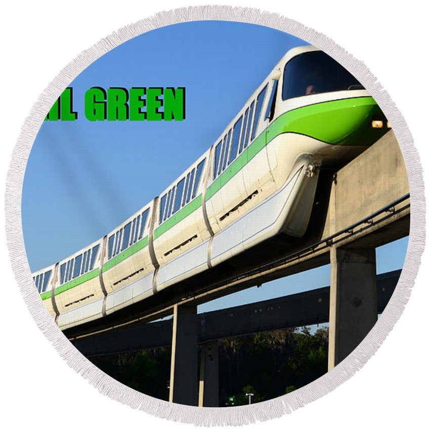 Monorail Round Beach Towel featuring the photograph Monorail Green Wdwrf by David Lee Thompson