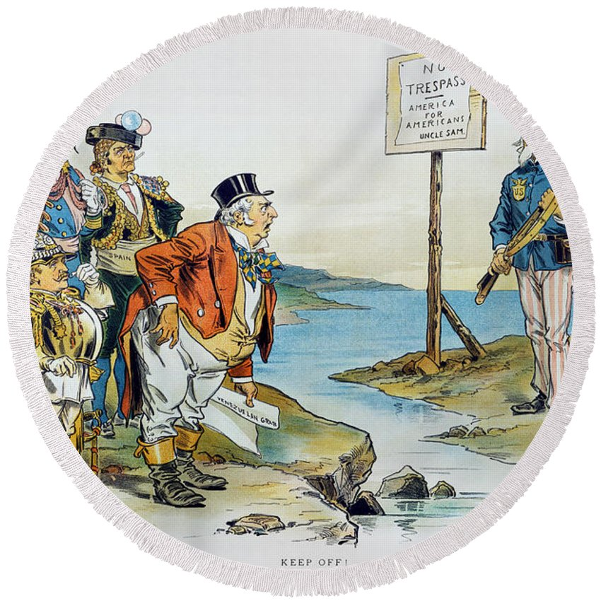 1896 Round Beach Towel featuring the photograph Monroe Doctrine, 1896 by Granger