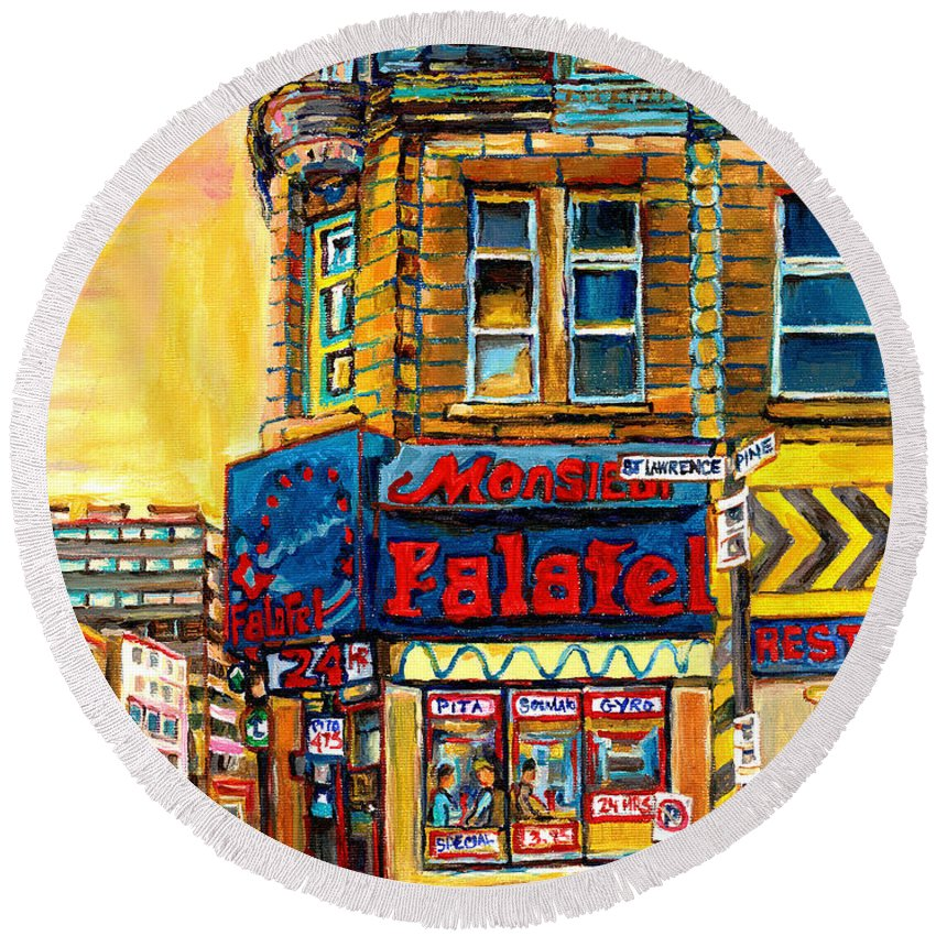 Montreal Round Beach Towel featuring the painting Monsieur Falafel by Carole Spandau