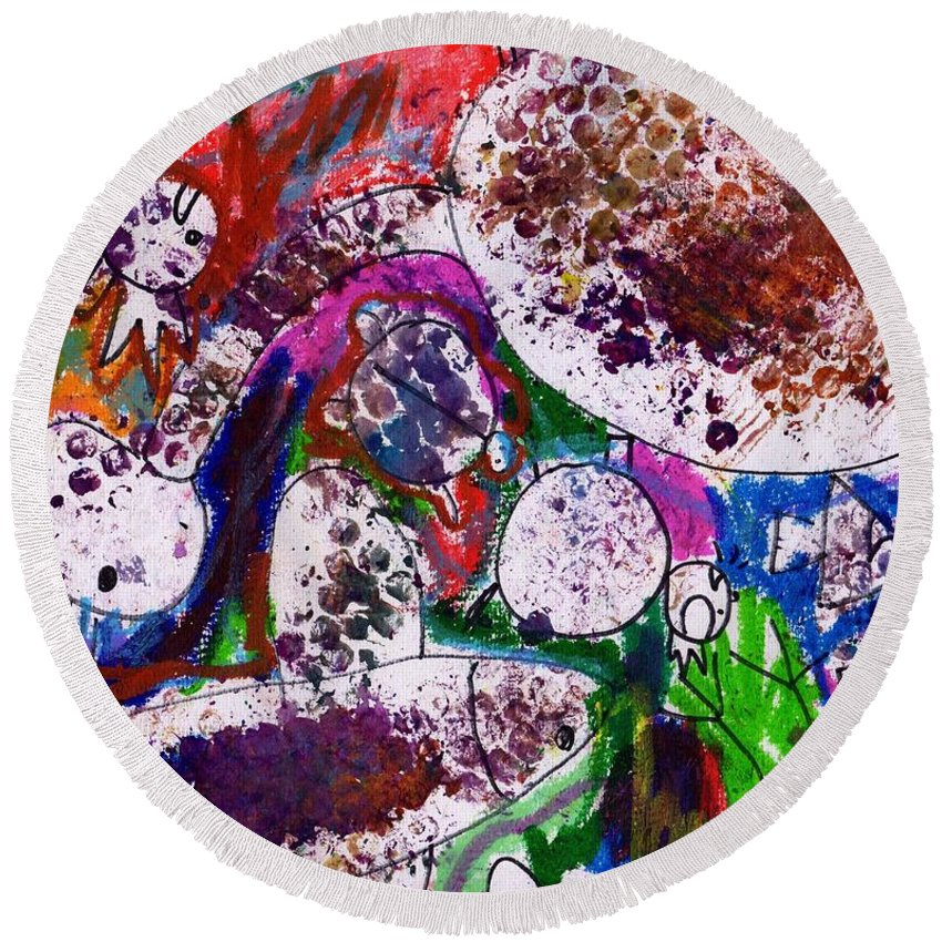 Animal Round Beach Towel featuring the painting Monster Party by Hchl Colouful