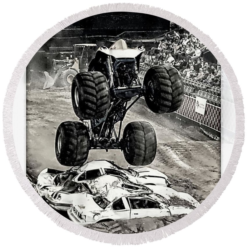 Nasty Boy Round Beach Towel featuring the photograph Monster Truck 1b by Walter Herrit