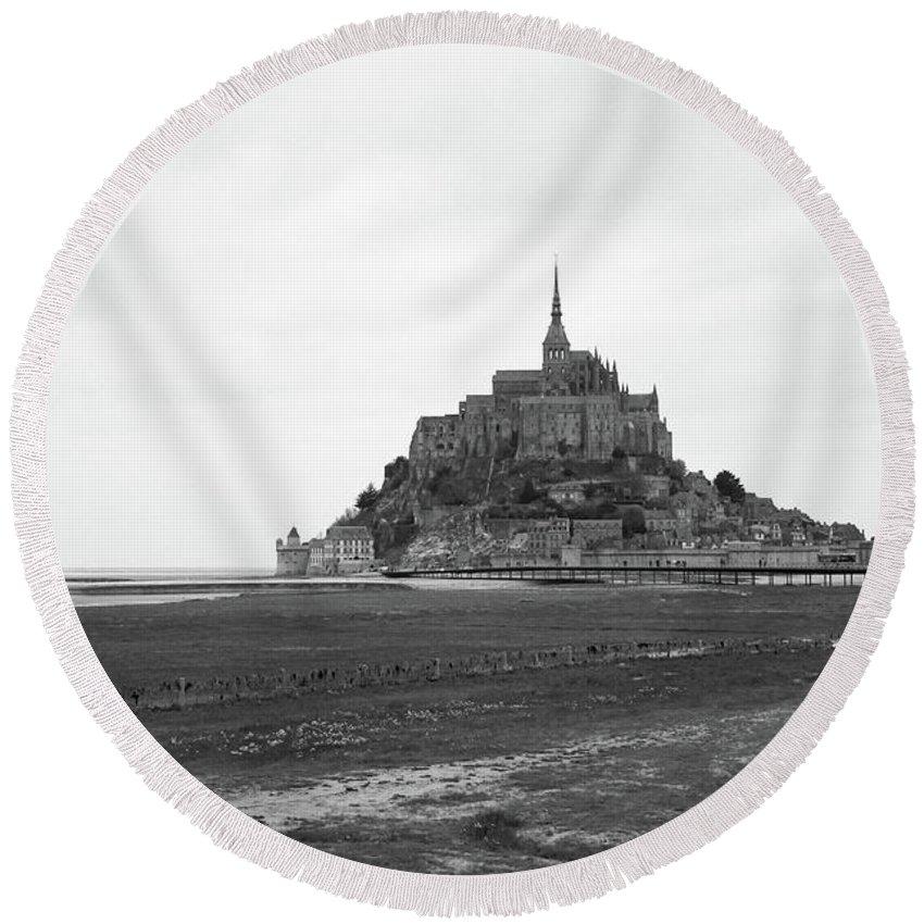 Mont Saint Michel Round Beach Towel featuring the photograph Mont Saint Michel Black And White by Sierra Vance