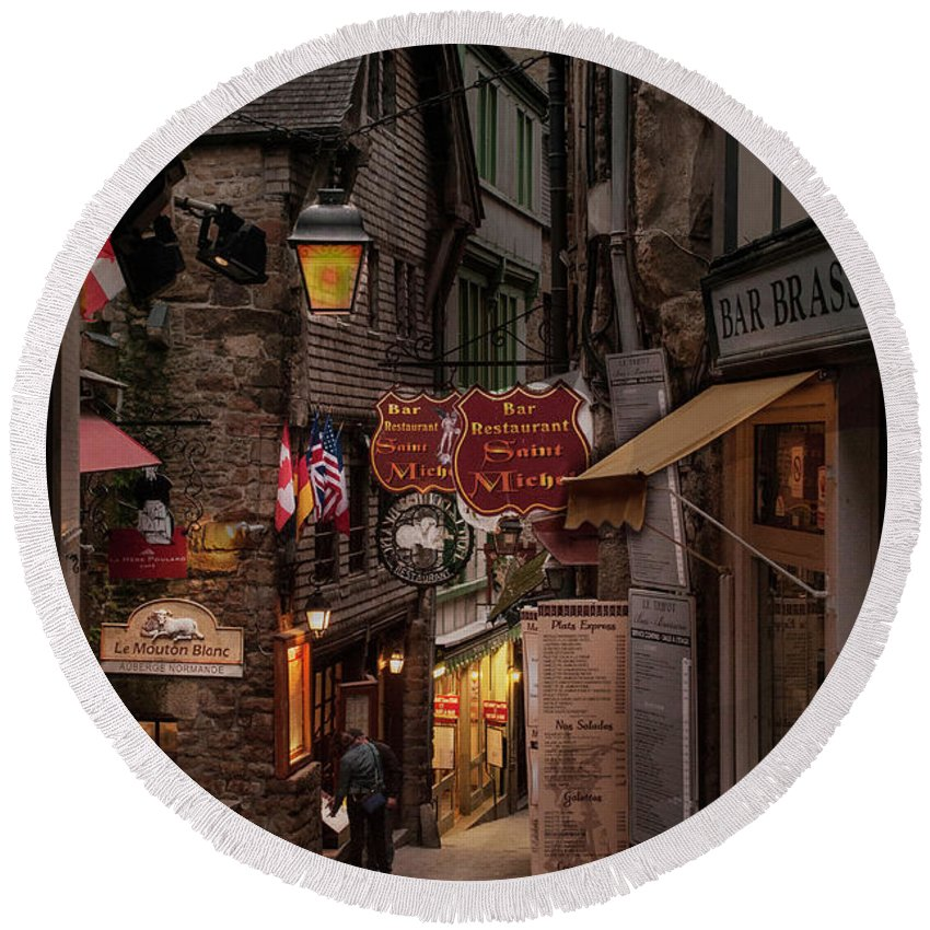 Europe Round Beach Towel featuring the photograph Mont-st-michel, Grand Rue At Night by Ted Lang