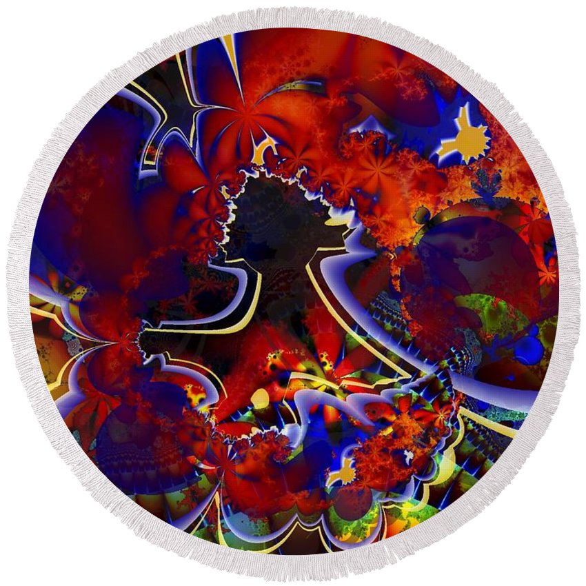 Fractal Round Beach Towel featuring the digital art Montage In Reds And Blues by Ron Bissett
