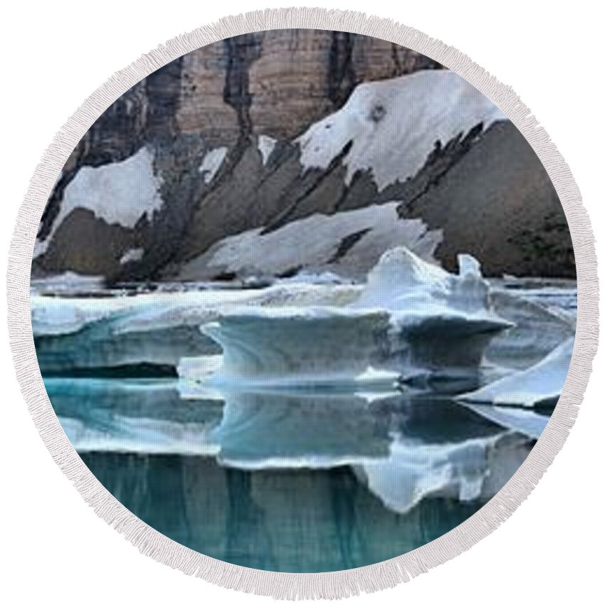 Gacier Iceberg Lake Round Beach Towel featuring the photograph Montana Icebergs by Adam Jewell