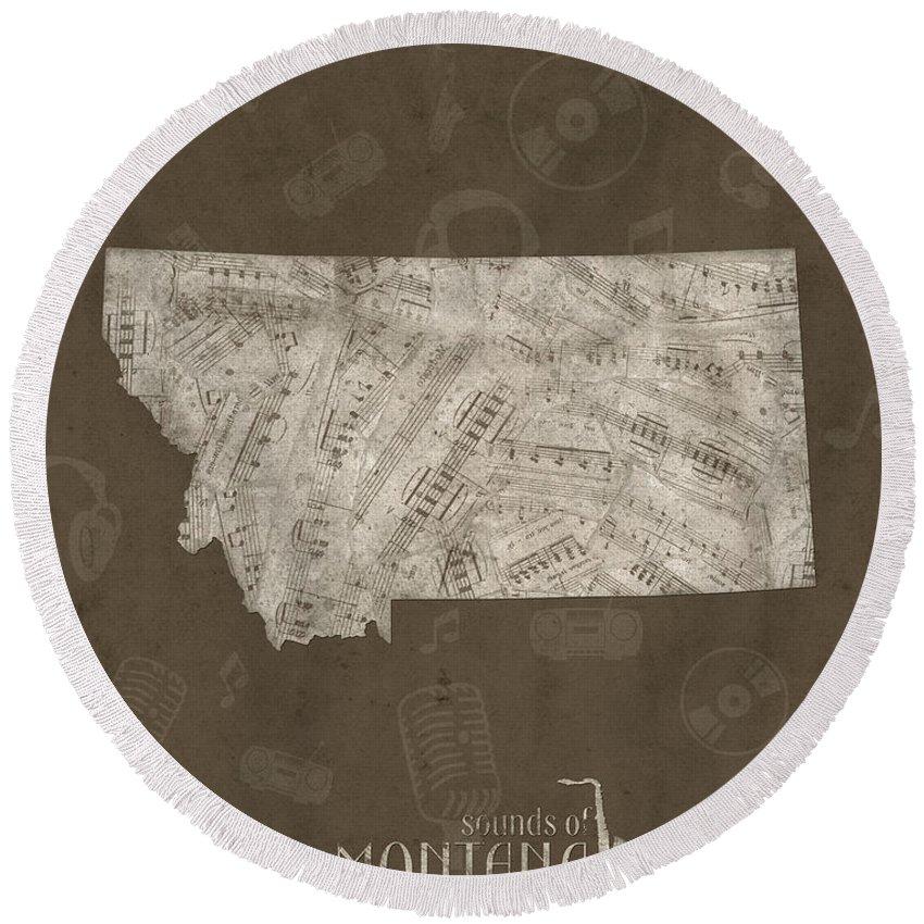 Montana Round Beach Towel featuring the digital art Montana Map Music Notes 3 by Bekim M