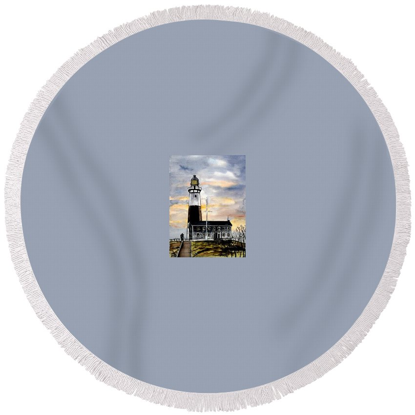 Montauk Point Round Beach Towel featuring the painting Montauk Point Lighthouse by Derek Mccrea
