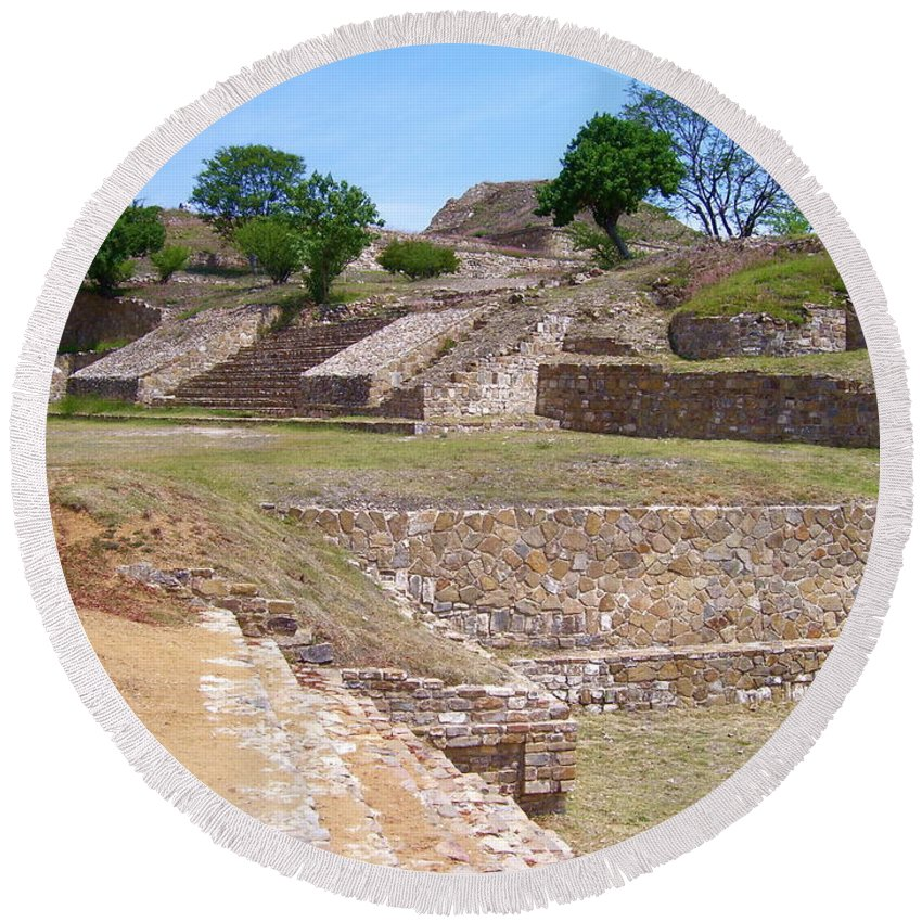 Monte Alban Round Beach Towel featuring the photograph Monte Alban 3 by Michael Peychich