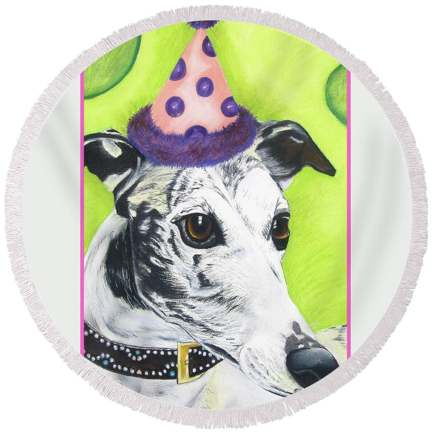 Dog Painting Round Beach Towel featuring the pastel Monte by Michelle Hayden-Marsan