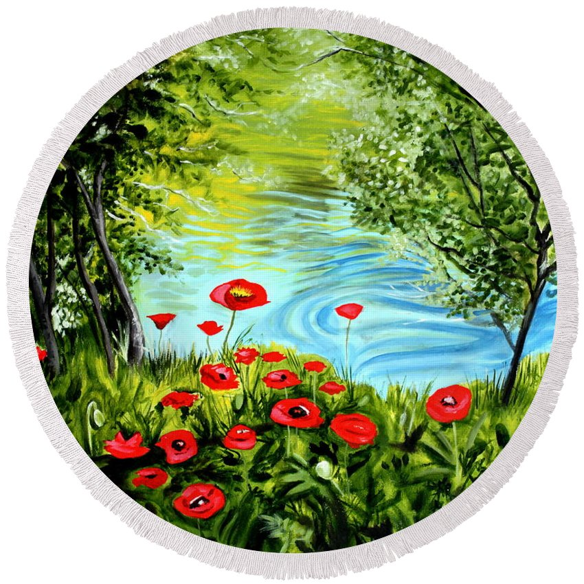 Landscape Round Beach Towel featuring the painting Monte Rio Poppies by Elizabeth Robinette Tyndall