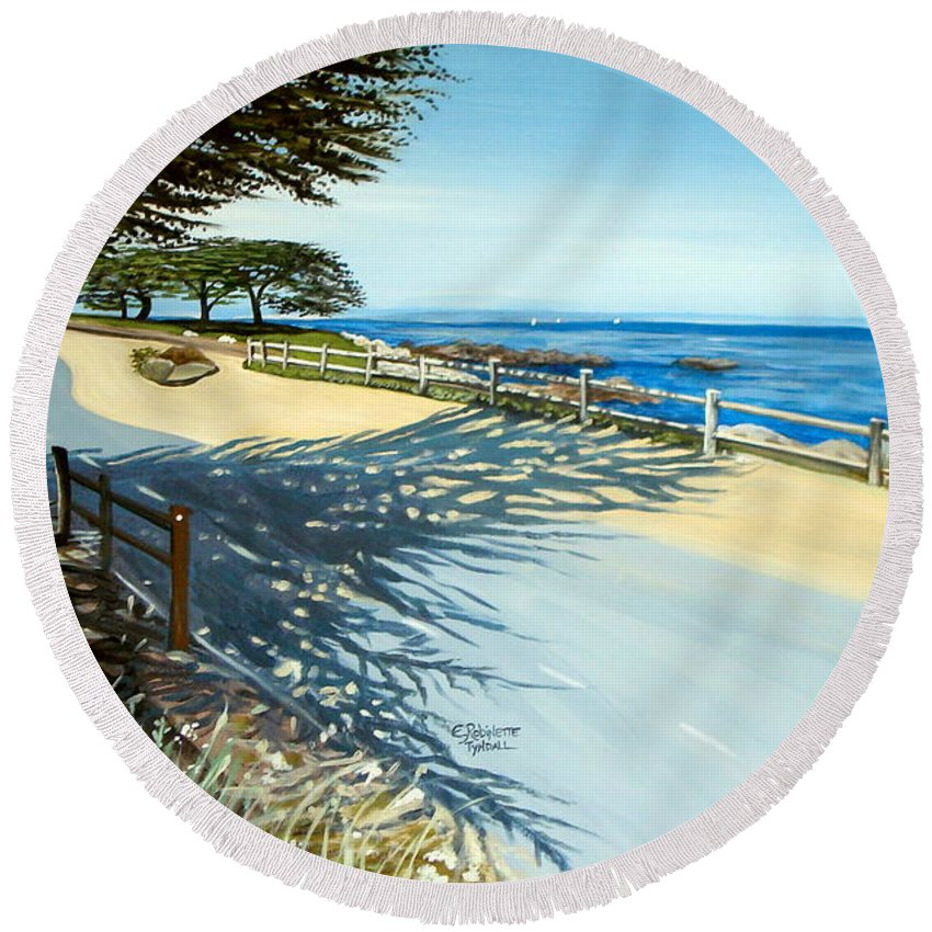 Landscape Round Beach Towel featuring the painting Monterey Shadows by Elizabeth Robinette Tyndall