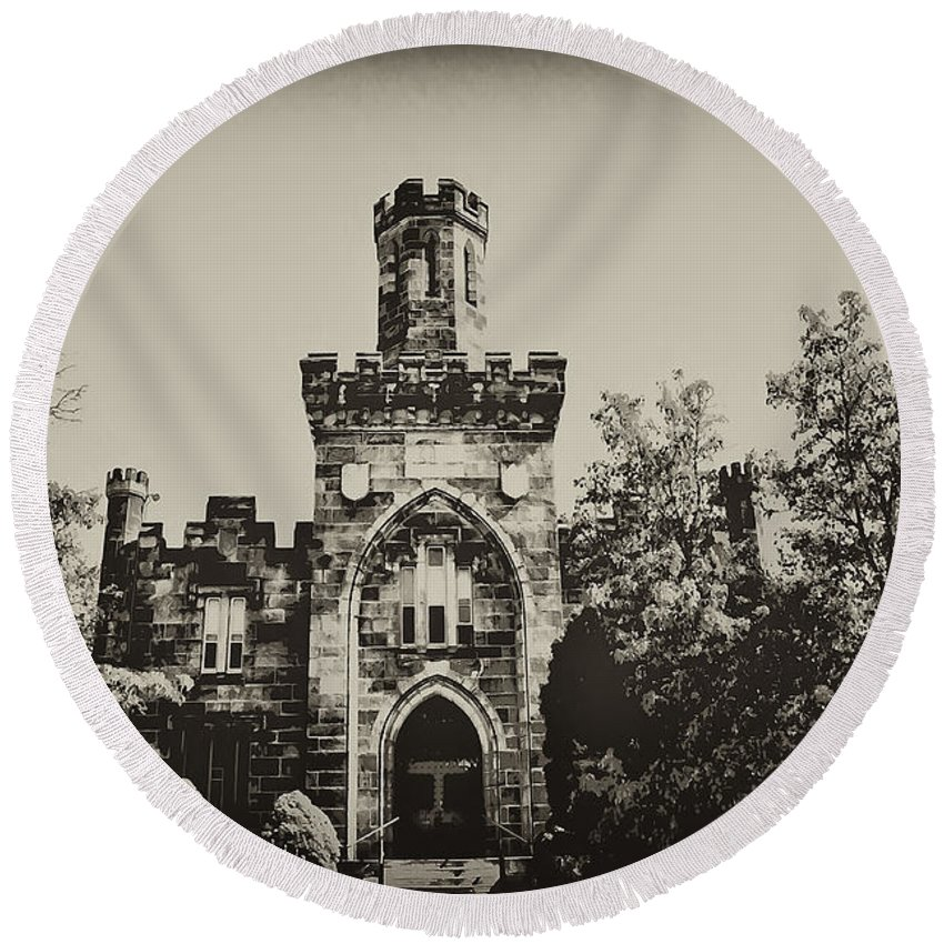 Montgomery Round Beach Towel featuring the photograph Montgomery County Prison by Bill Cannon