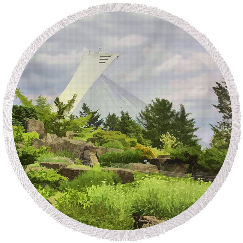 Montreal Round Beach Towel featuring the photograph Montreal Biodome Backdrop by Deborah Benoit