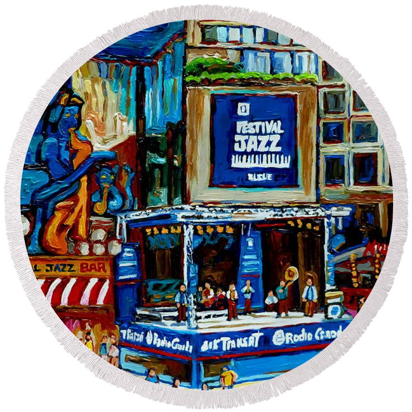 Jazz Singers Round Beach Towel featuring the painting Montreal City Paintings By Streetscene Specialist Carole Spandau Over 500 Prints Available by Carole Spandau