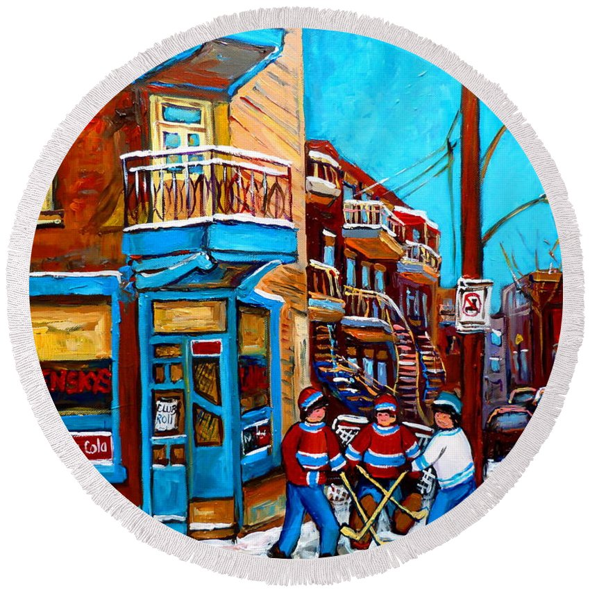 Montreal Round Beach Towel featuring the painting Montreal City Scene Hockey At Wilenskys by Carole Spandau