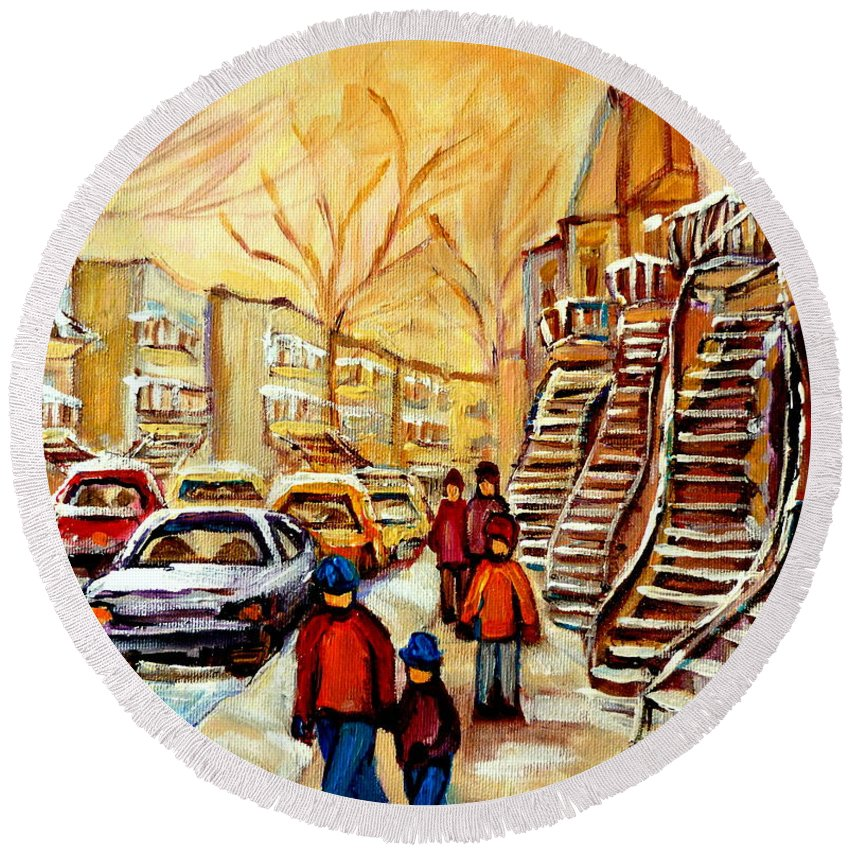 Montreal Round Beach Towel featuring the painting Montreal City Scene In Winter by Carole Spandau