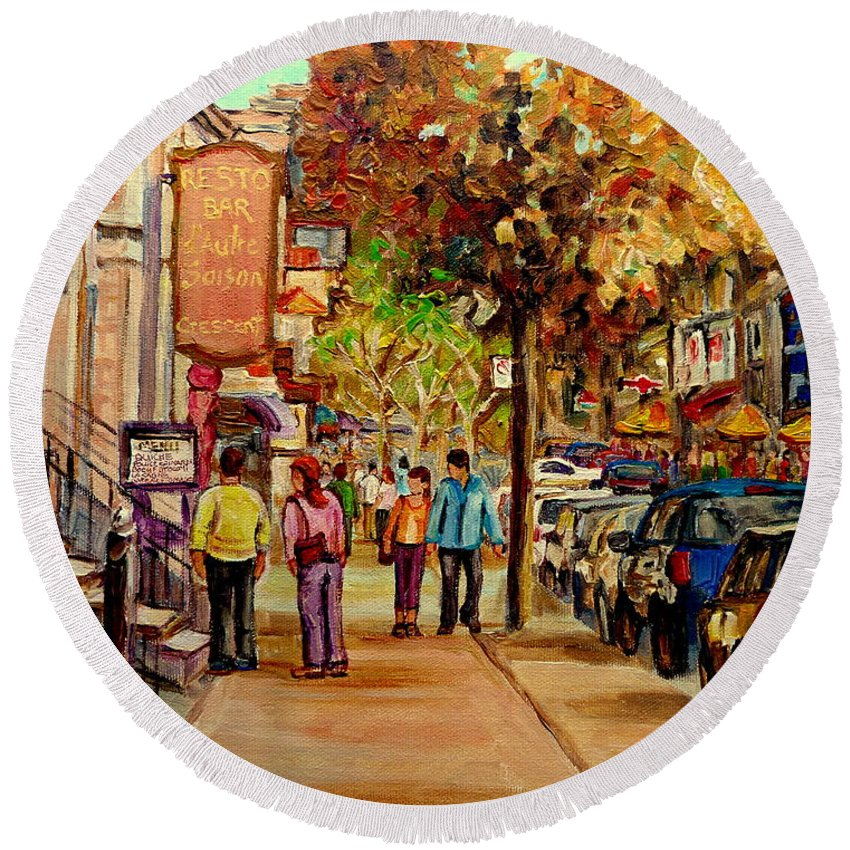Montreal Round Beach Towel featuring the painting Montreal Downtown Crescent Street Couples Walking Near Cafes And Rstaurants City Scenes Art  by Carole Spandau