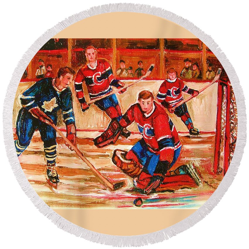 Montreal Forum Hockey Round Beach Towel featuring the painting Montreal Forum Hockey Game by Carole Spandau