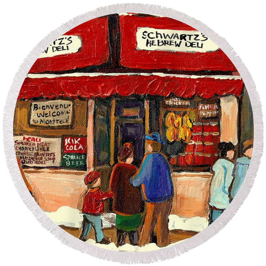Montreal Hebrew Delicatessen Round Beach Towel featuring the painting Montreal Hebrew Delicatessen Schwartzs By Montreal Streetscene Artist Carole Spandau by Carole Spandau