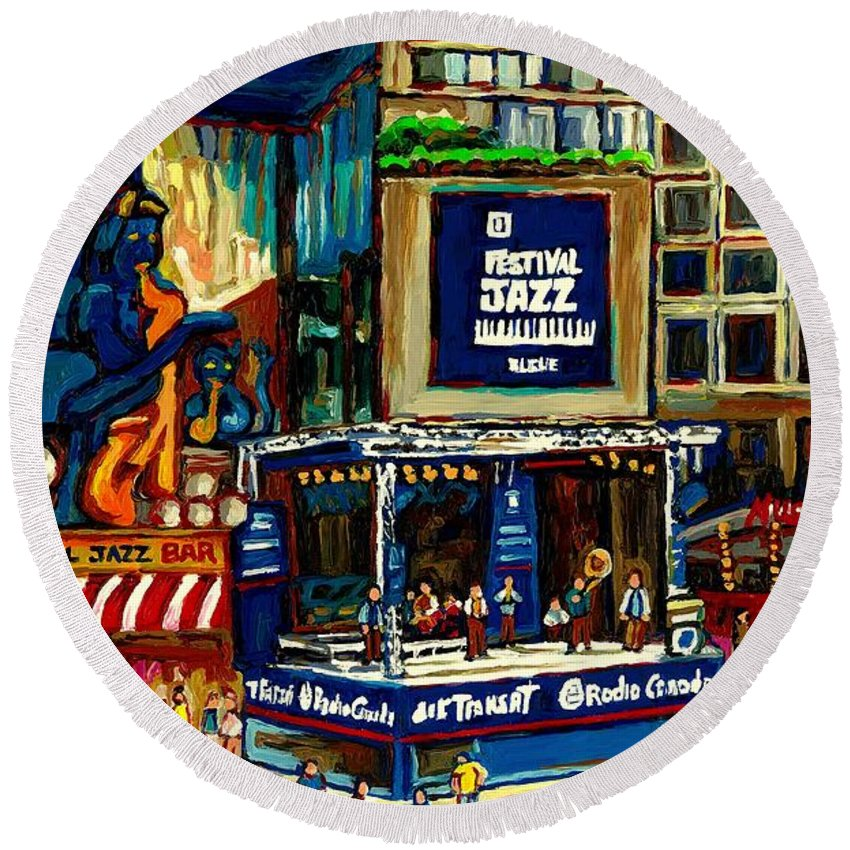Montreal Round Beach Towel featuring the painting Montreal Jazz Festival Arcade by Carole Spandau