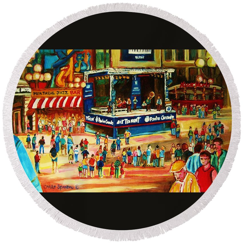 Montreal Round Beach Towel featuring the painting Montreal Jazz Festival by Carole Spandau