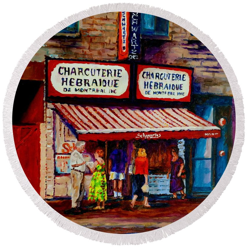 Streets Of Montreal Round Beach Towel featuring the painting Montreal Paintings Available For Fundraisers By Streetscene Artist Carole Spandau by Carole Spandau