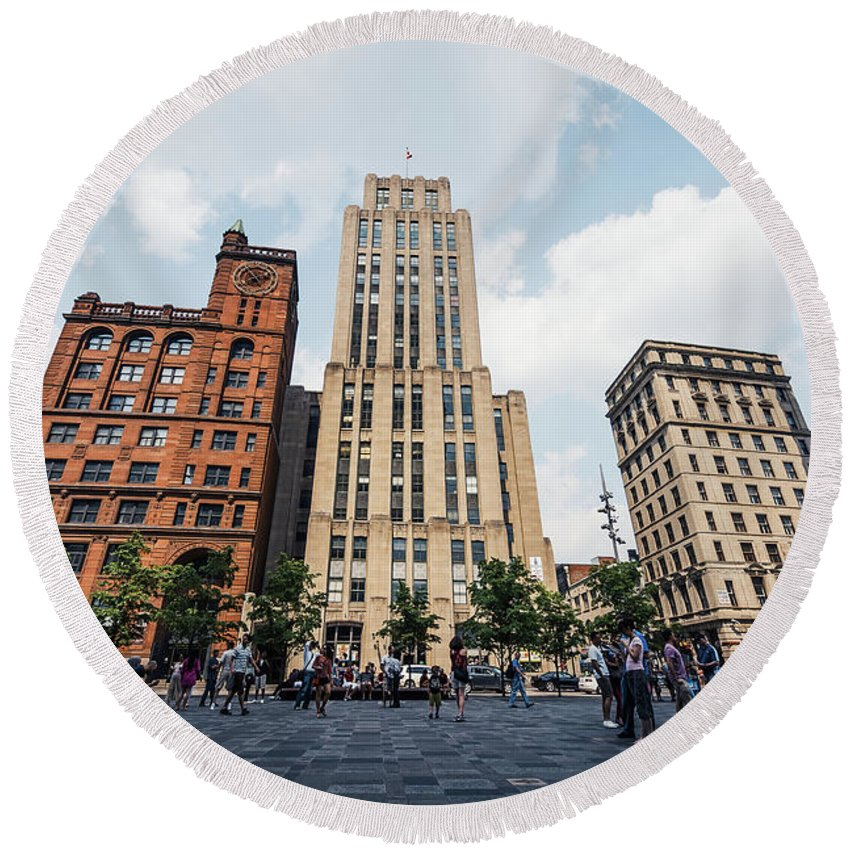 Montreal Round Beach Towel featuring the photograph Montreal - Place Darmes by Alexander Voss