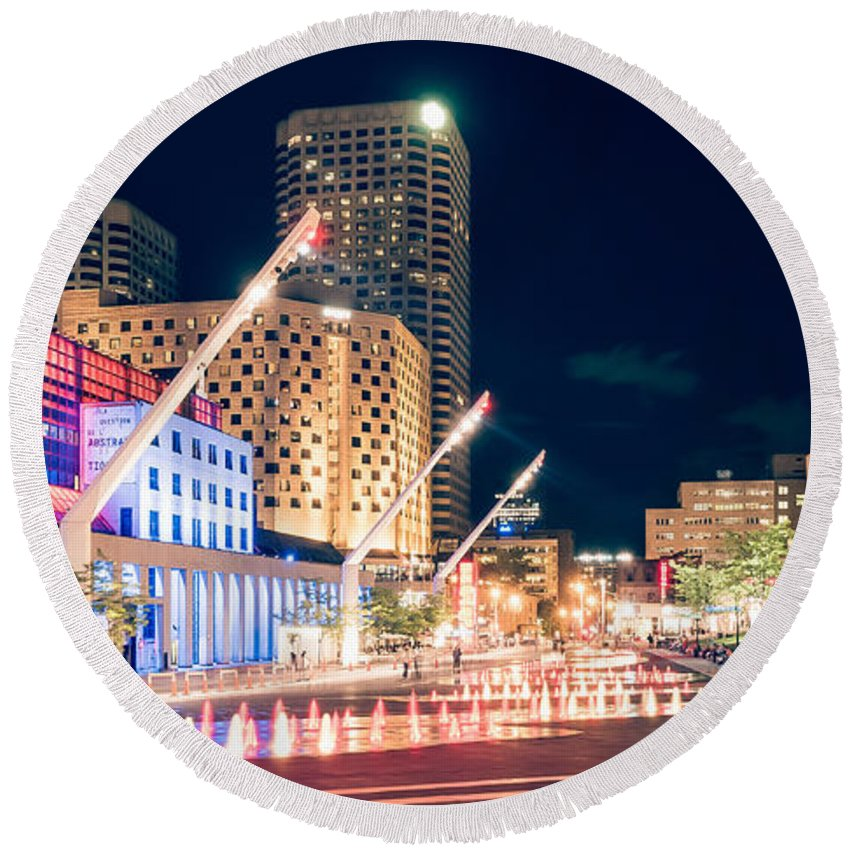 Montreal Round Beach Towel featuring the photograph Montreal - Place Des Arts by Alexander Voss