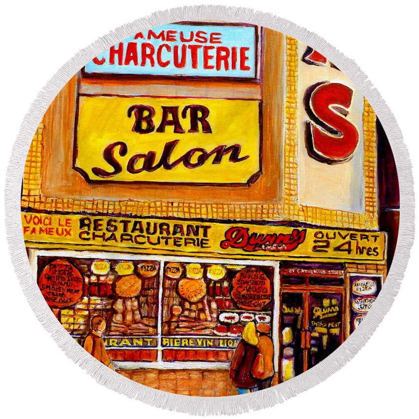 Dunns Round Beach Towel featuring the painting Montreal Smoked Meat Dunns Restaurant by Carole Spandau