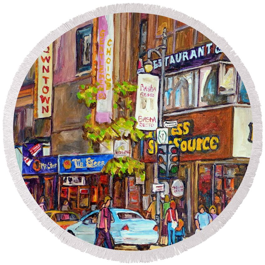 Montreal Round Beach Towel featuring the painting Montreal St.catherine Street Corner Peel by Carole Spandau