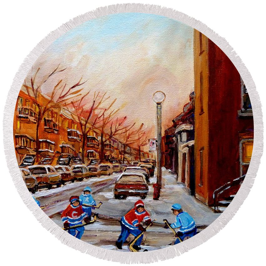 Montreal Streetscene Round Beach Towel featuring the painting Montreal Street Hockey Game by Carole Spandau