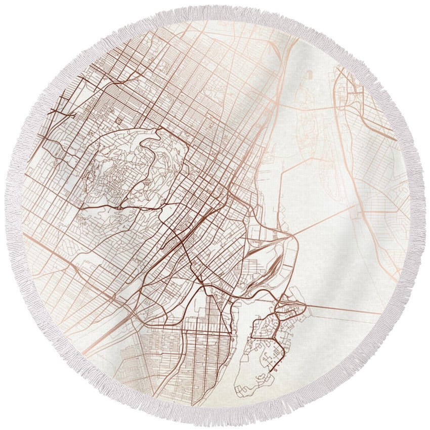 Map Round Beach Towel featuring the digital art Montreal Street Map Colorful Copper Modern Minimalist by Jurq Studio