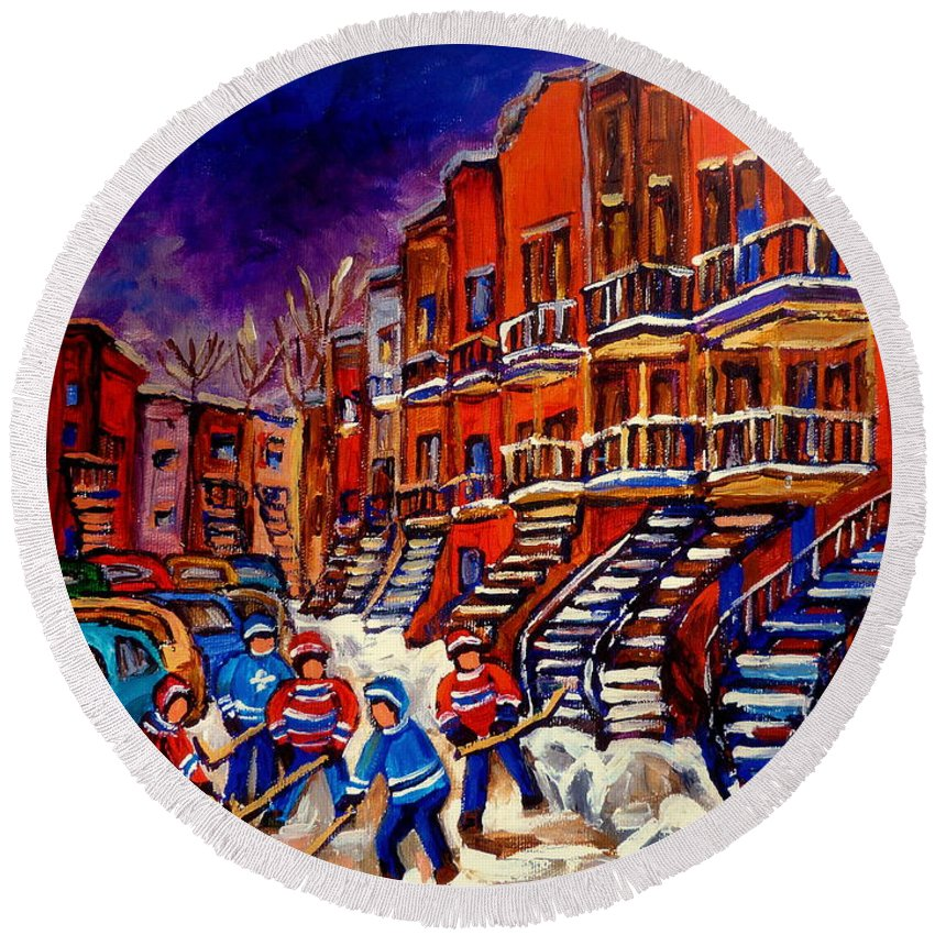 Montreal Round Beach Towel featuring the painting Montreal Street Scene Paintings Hockey On De Bullion Street  by Carole Spandau