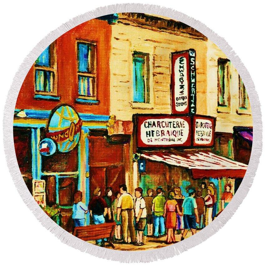 Montreal Round Beach Towel featuring the painting Montreal Streetscene Artist Carole Spandau Paints Schwartzs Main Street Hustle Bustle by Carole Spandau